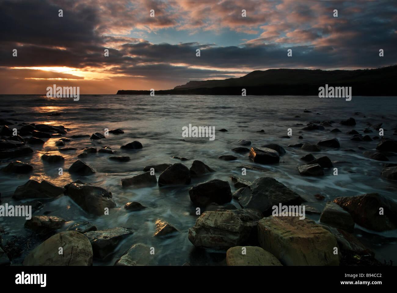 Kimmeridge Bucht sein Winter Sonnenuntergang nahe Weymouth soll ein Schauplatz für die bevorstehenden Olympischen Stockbild