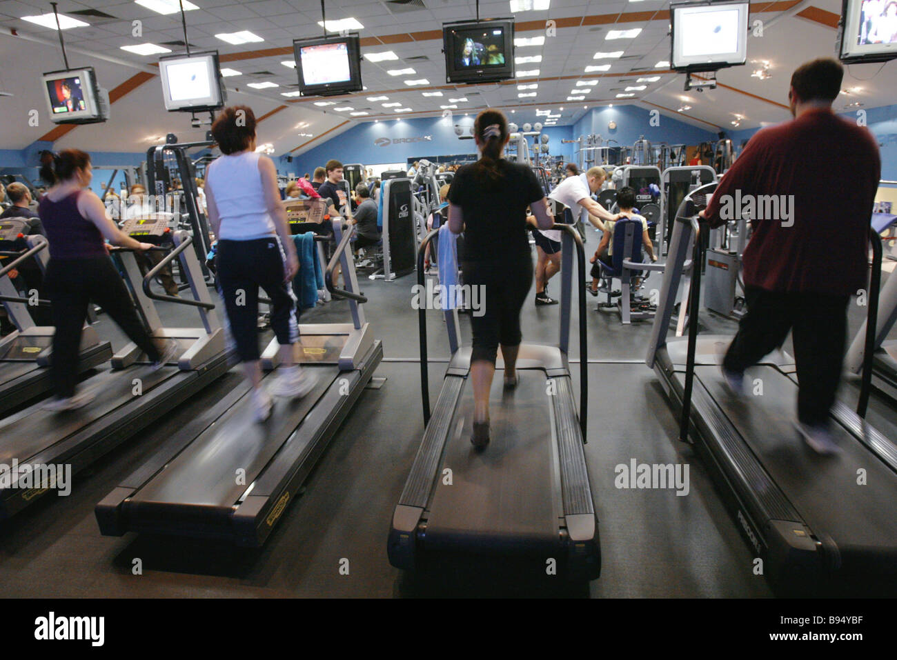 Janinn Fitness Center Rennstrecke Simulator Zimmer Moskau Stockbild