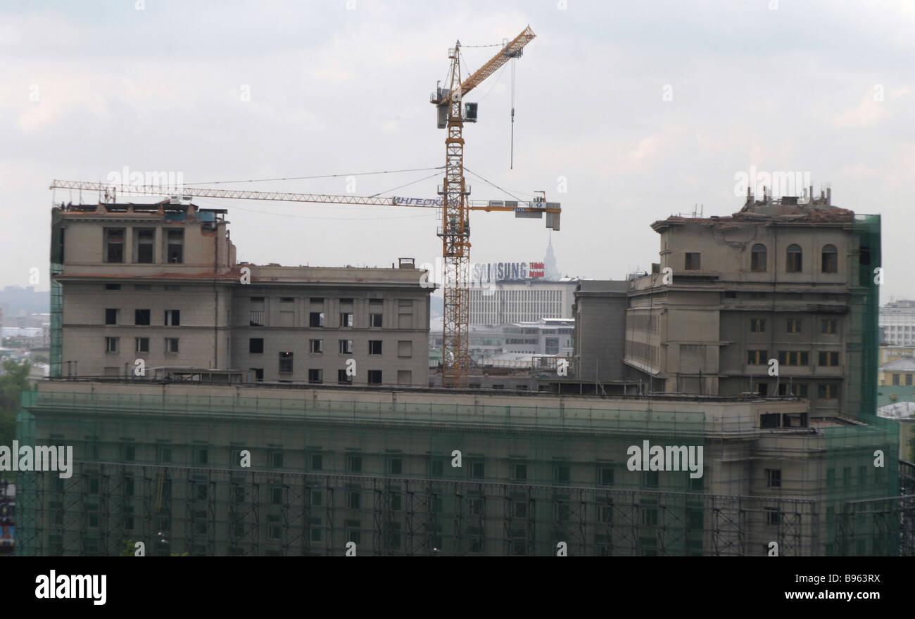 Umbau des Hotels Moskva Stockbild