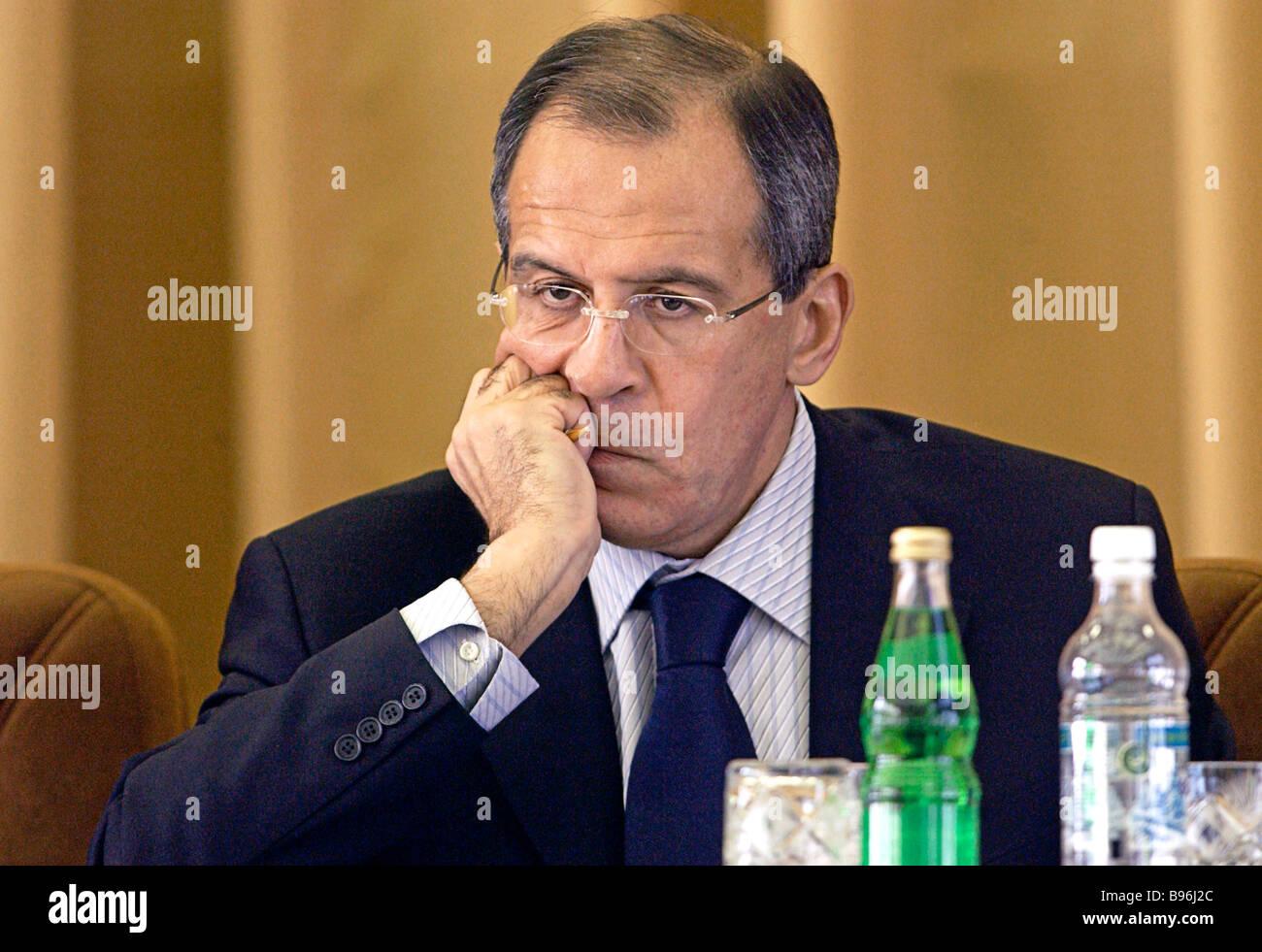 Der russische Außenminister Sergej Lawrow Stockbild