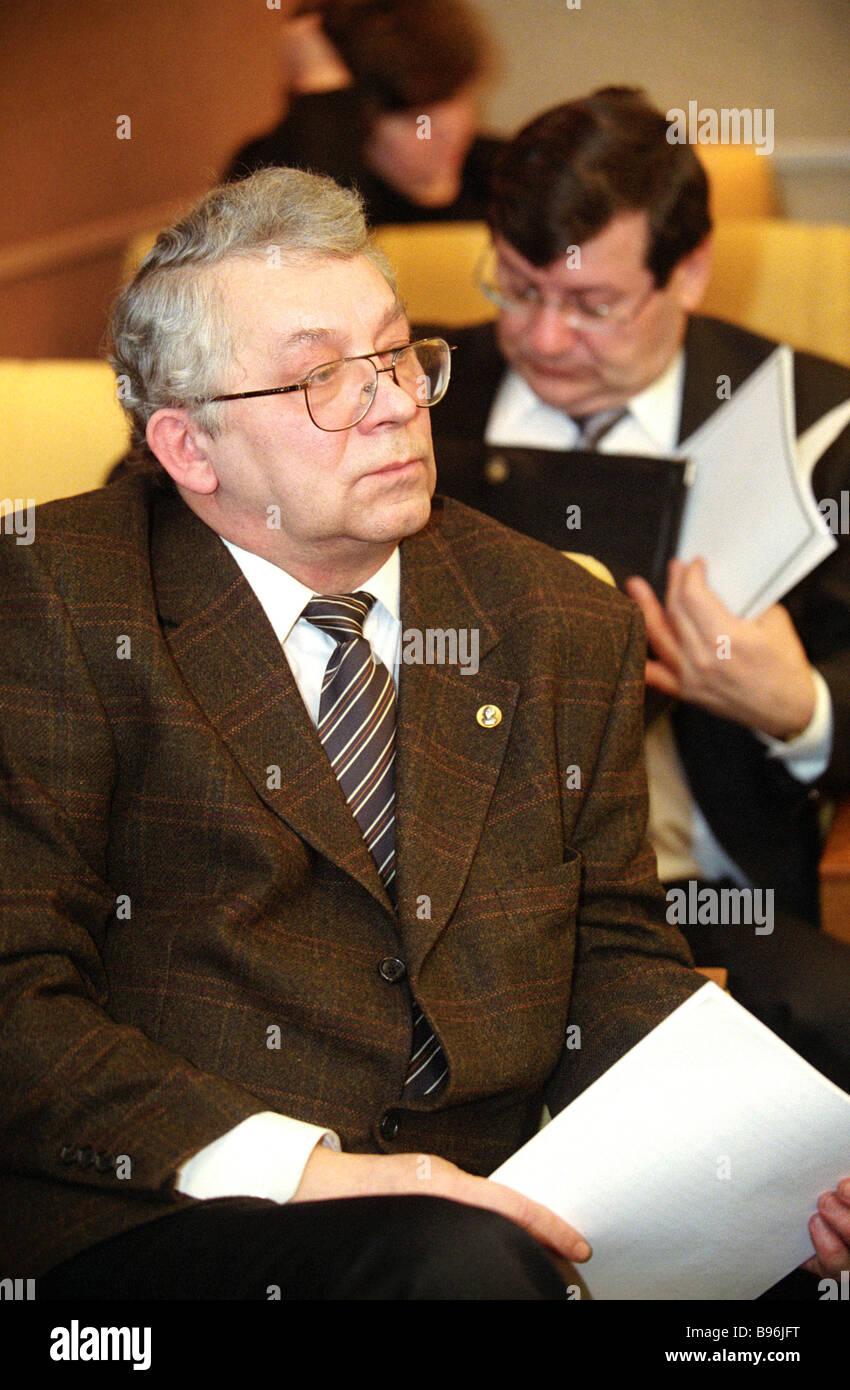 Vladimir Kozlov Leiter der Russland s Federal Archive Service und die Regierung s offizieller Vertreter berichteten Stockbild