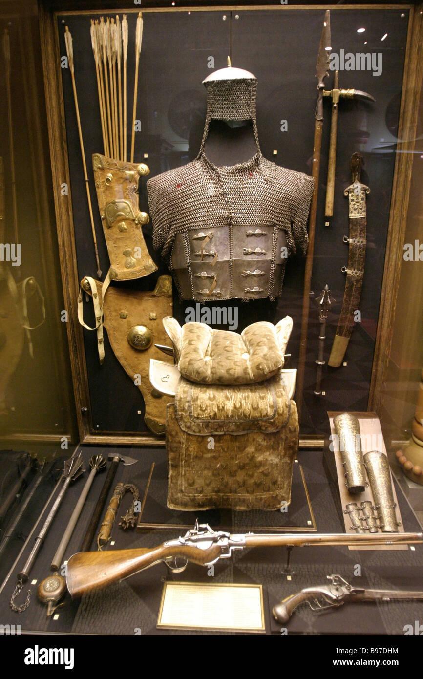 Das Staatliches Historisches Museum-Display zum Gedenken an die 4. November 1612-Ereignisse es Dokumente zeigt Waffen, Stockbild