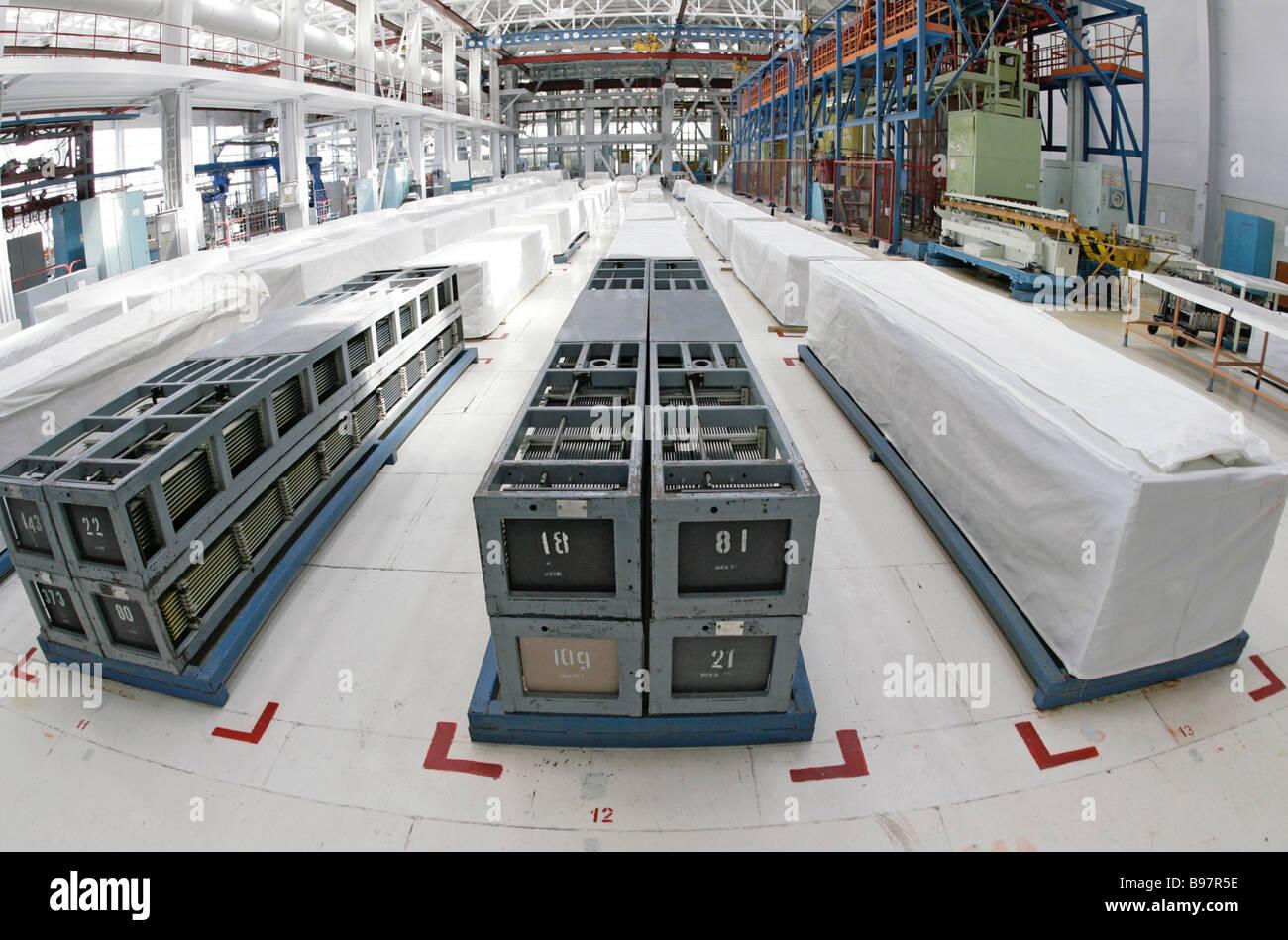 Brennelemente für Kernkraftwerke produzieren Nowosibirsk Chemiefabrik konzentrieren Stockbild