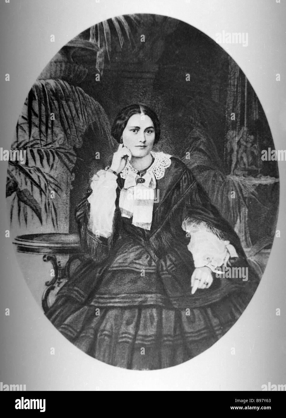 Reproduktion des Porträts von V Nobel die Mutter von Emmanuel Nobel Stockbild