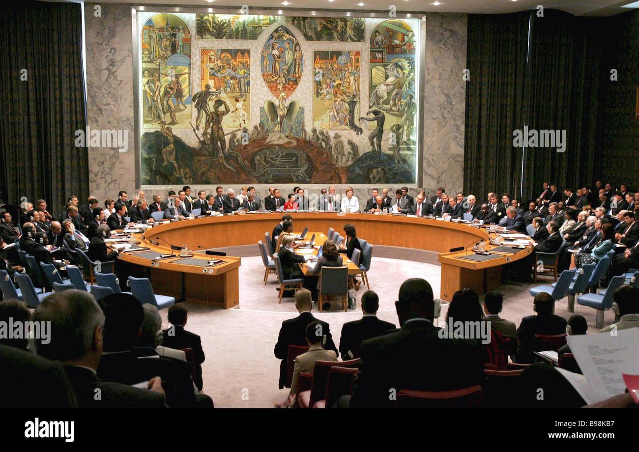 Sitzung der UN-Sicherheitsrat innerhalb der 60. Jubiläums-Sitzung der UN General Assembly New York City Stockbild