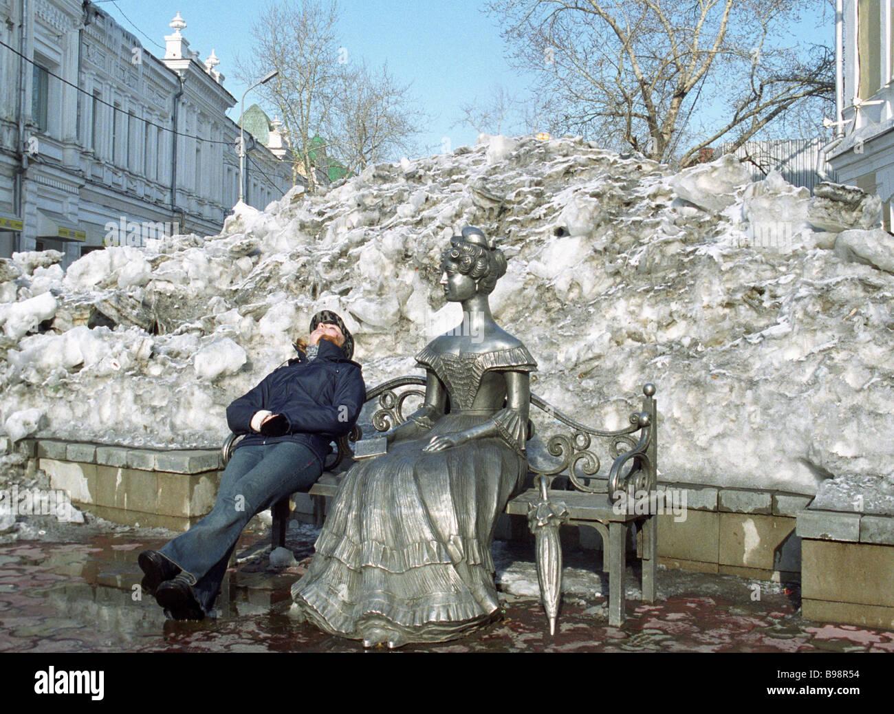 Sehr geehrte Ljuba in Omsk Gärten-Denkmal Stockbild