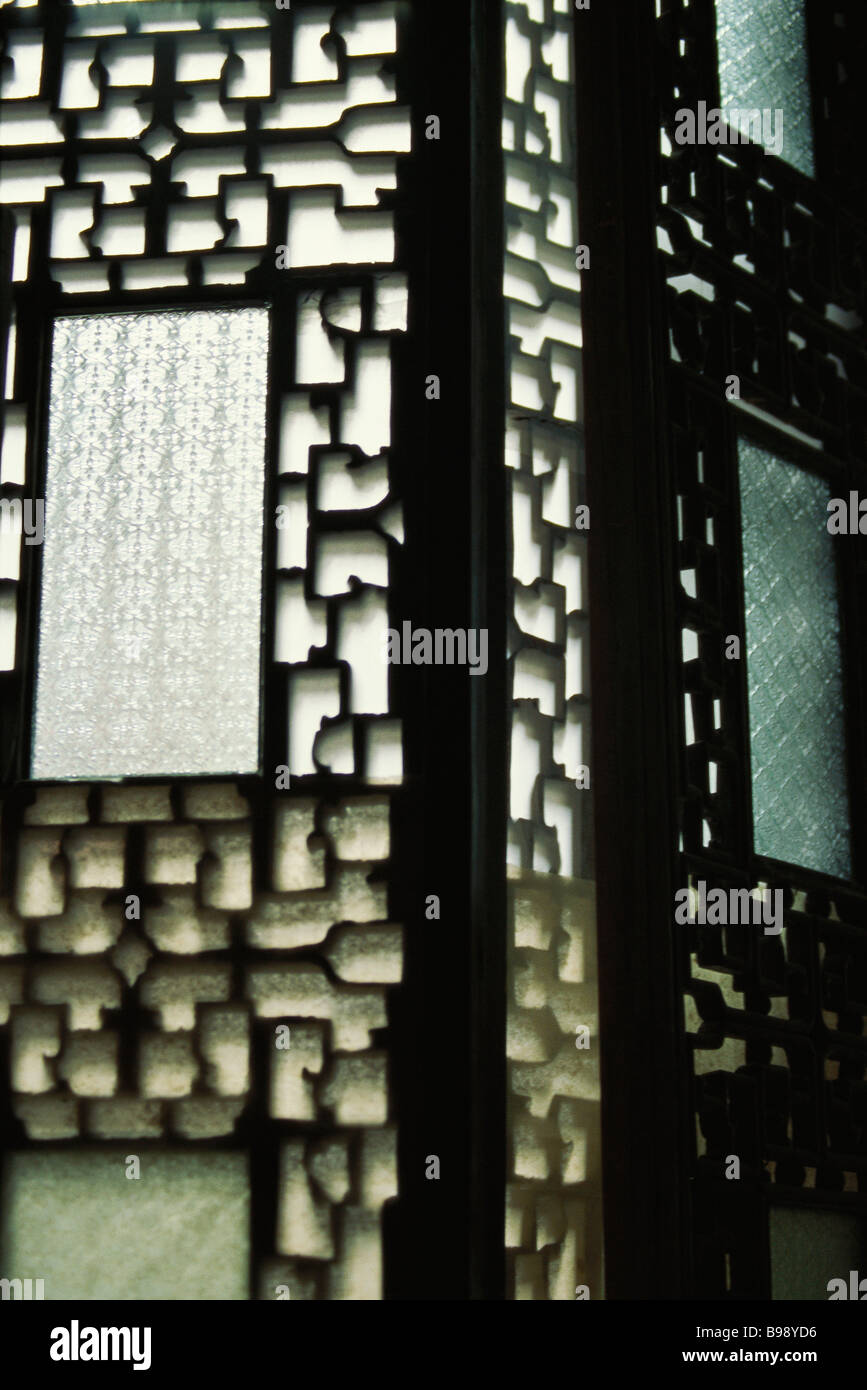 Verzierten hölzernen japanischen Bildschirm Stockbild