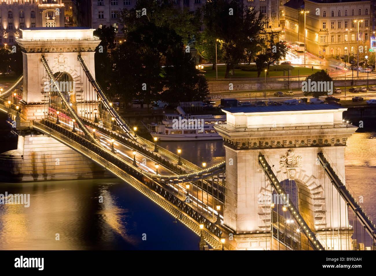 Kettenbrücke Budapest Ungarn Stockbild