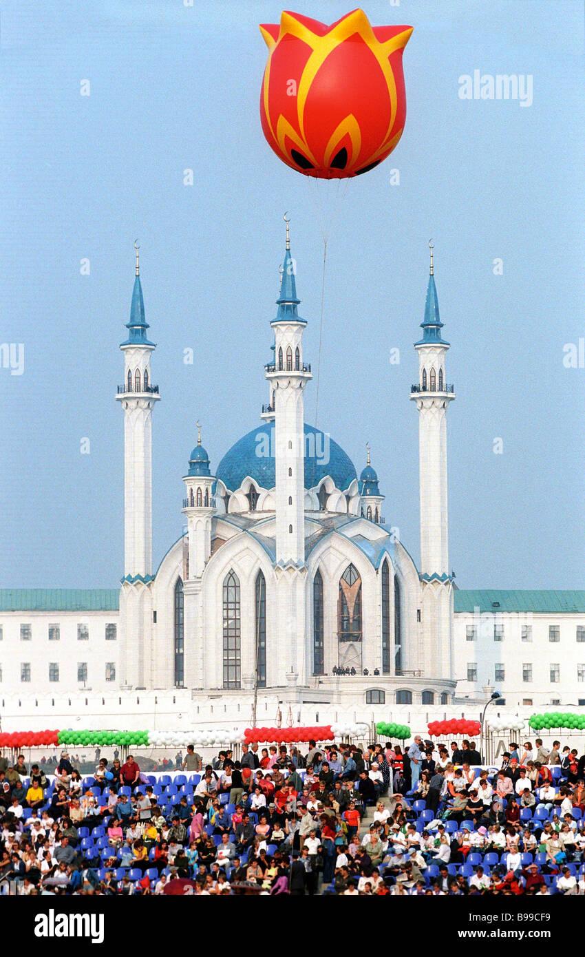 Die Kul-Sharif-Moschee wurde vor kurzem in der Kazal Zitadelle errichtet. Stockbild
