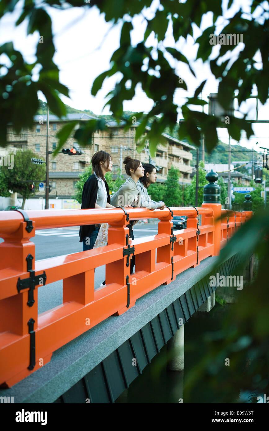 Junge Freunde auf der Brücke stehen, betrachten Stockbild