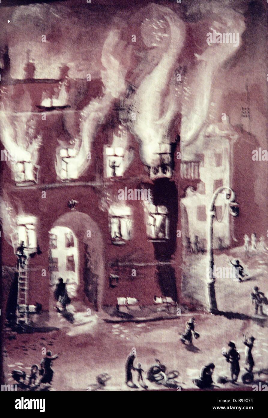 Feuer durch Alexander Blek Reproduktion in der Kriegszeit Grafiken Ausstellung gewidmet, die Belagerung von Leningrad Stockbild