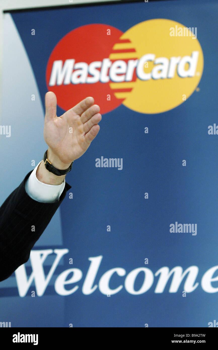 MasterCard-Werbung Stockbild