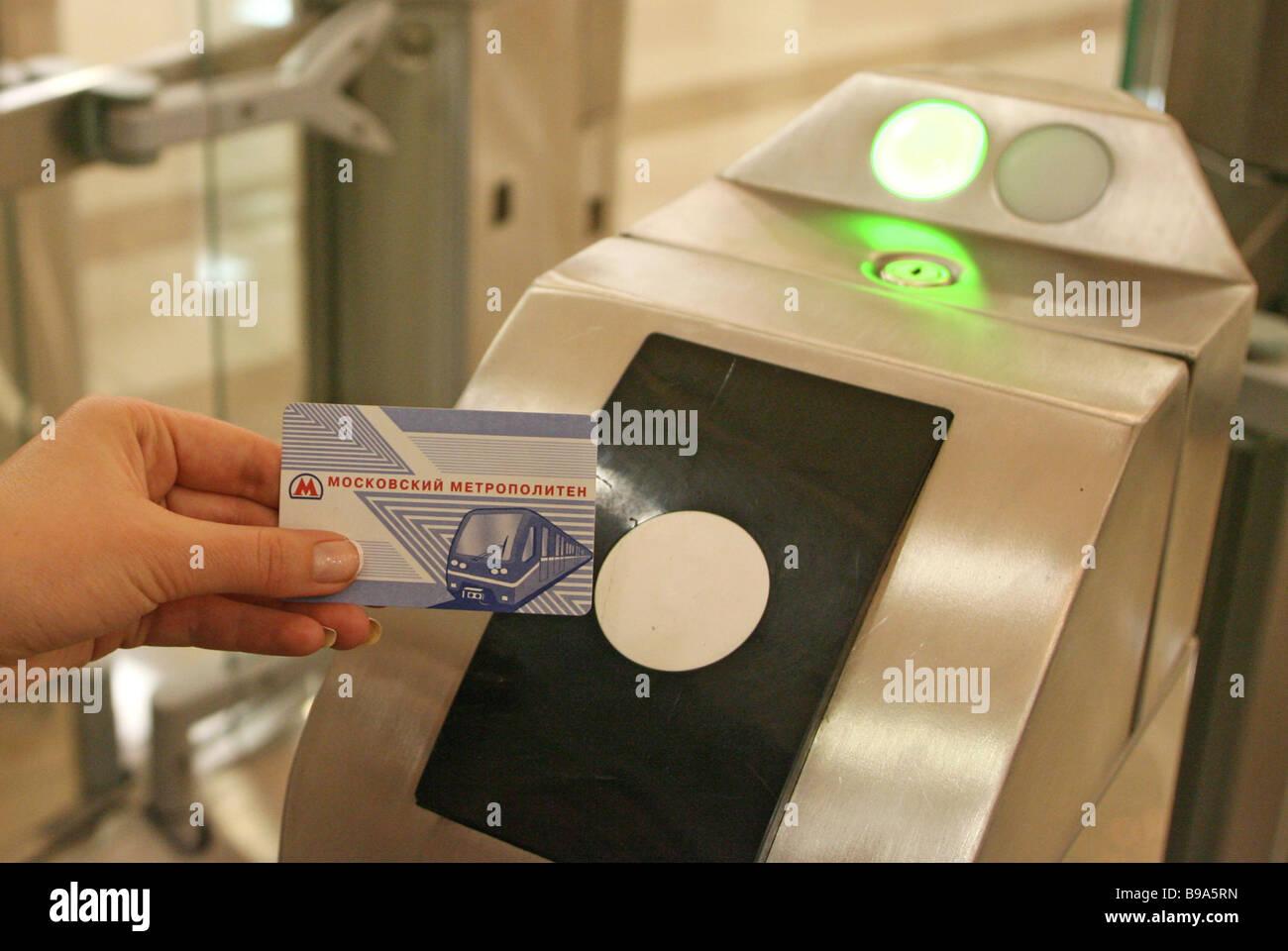 Am 20. Januar Moskau s bringt Metro in Umlauf berührungslose Chipkarten Stockbild