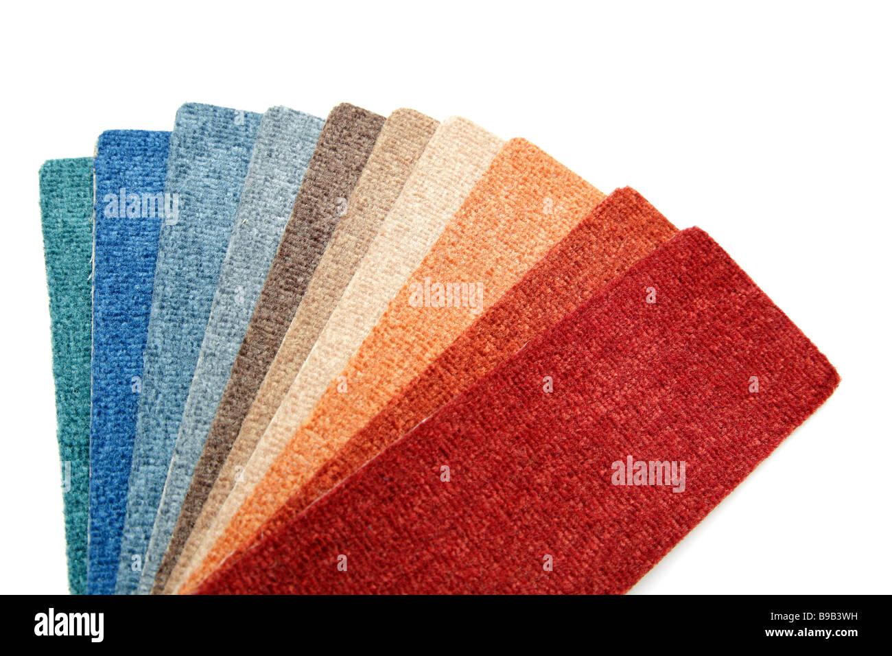 Proben der Farbe einen Teppich im Shop für Stockbild