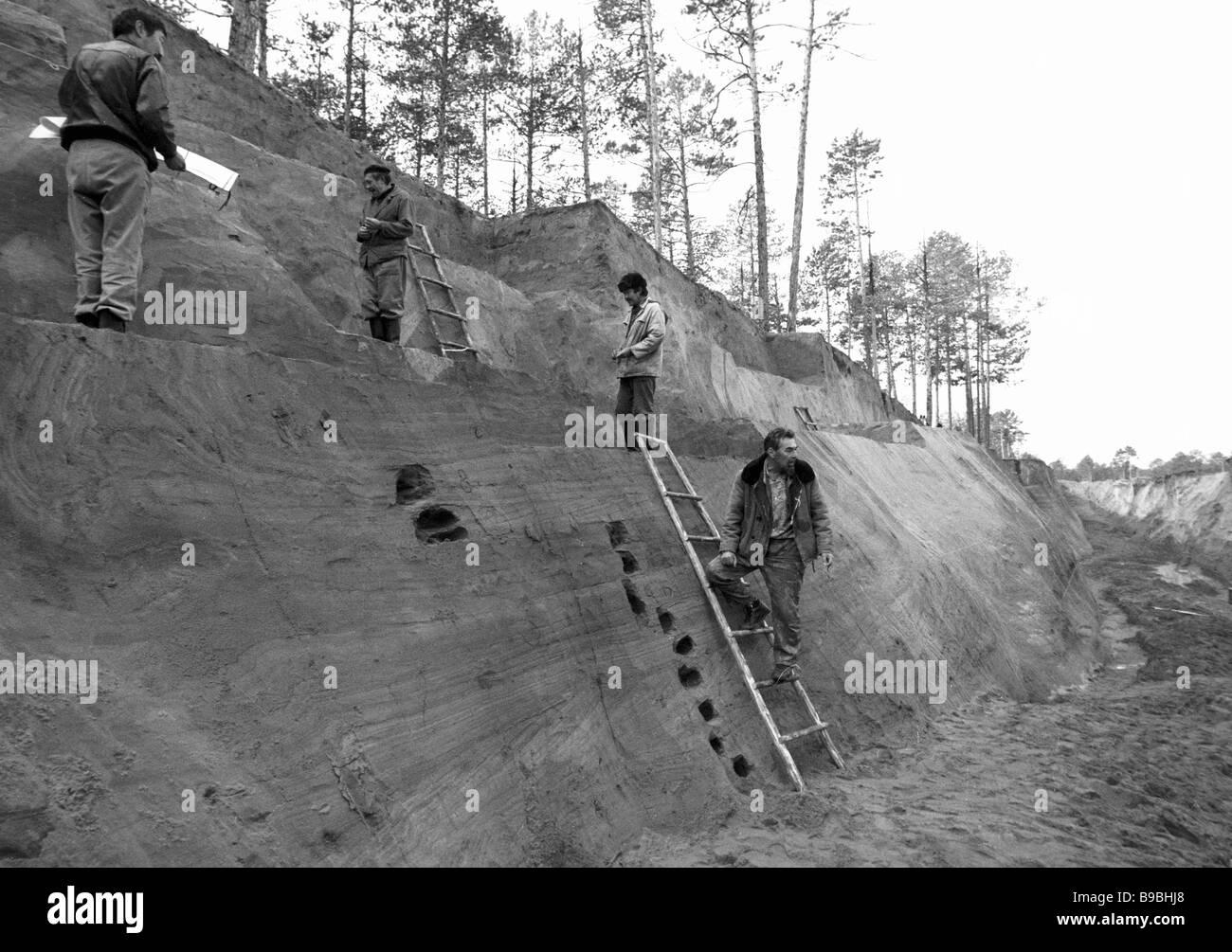 Geologie und Geo morphologische Kompetenz der Bedeutung einer der ältesten paläolithischen Siedlungen Stockbild