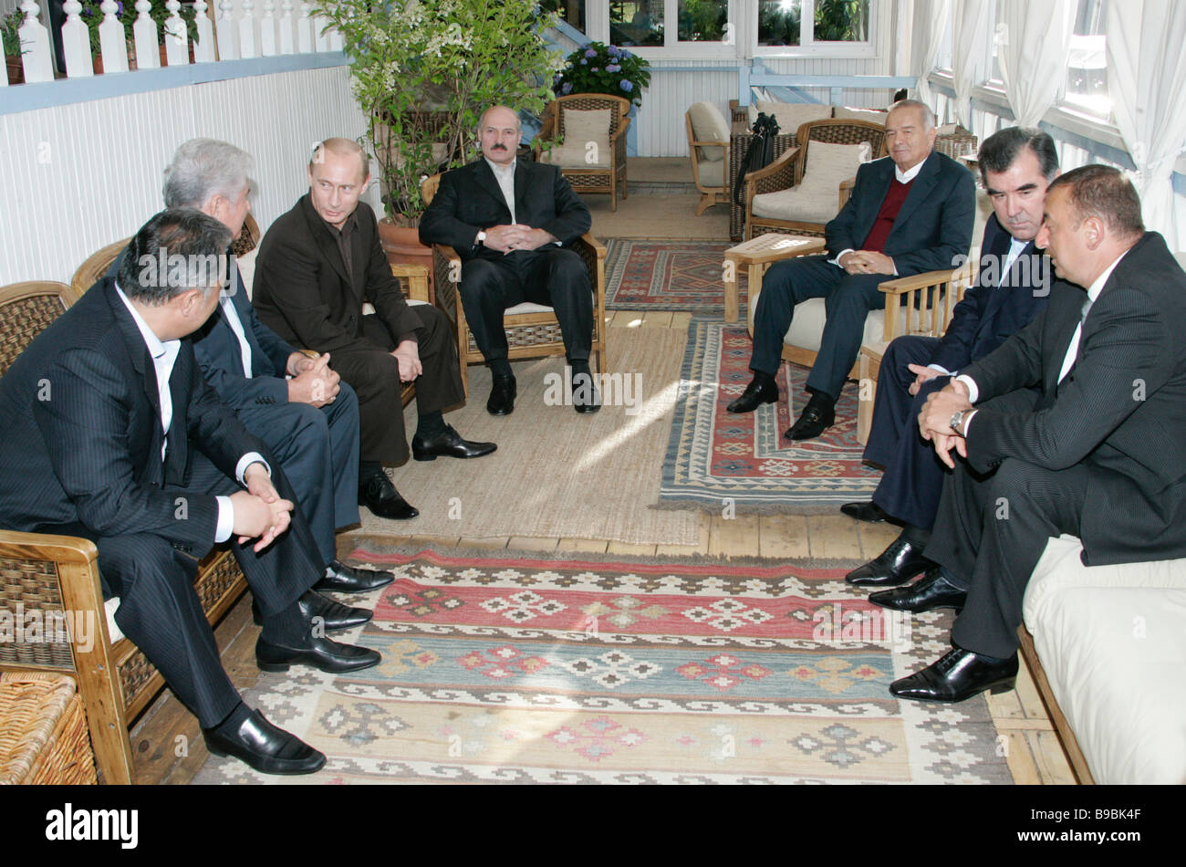 Die CIS-Führer vor dem Abendessen innerhalb der informellen Gipfel Stockbild