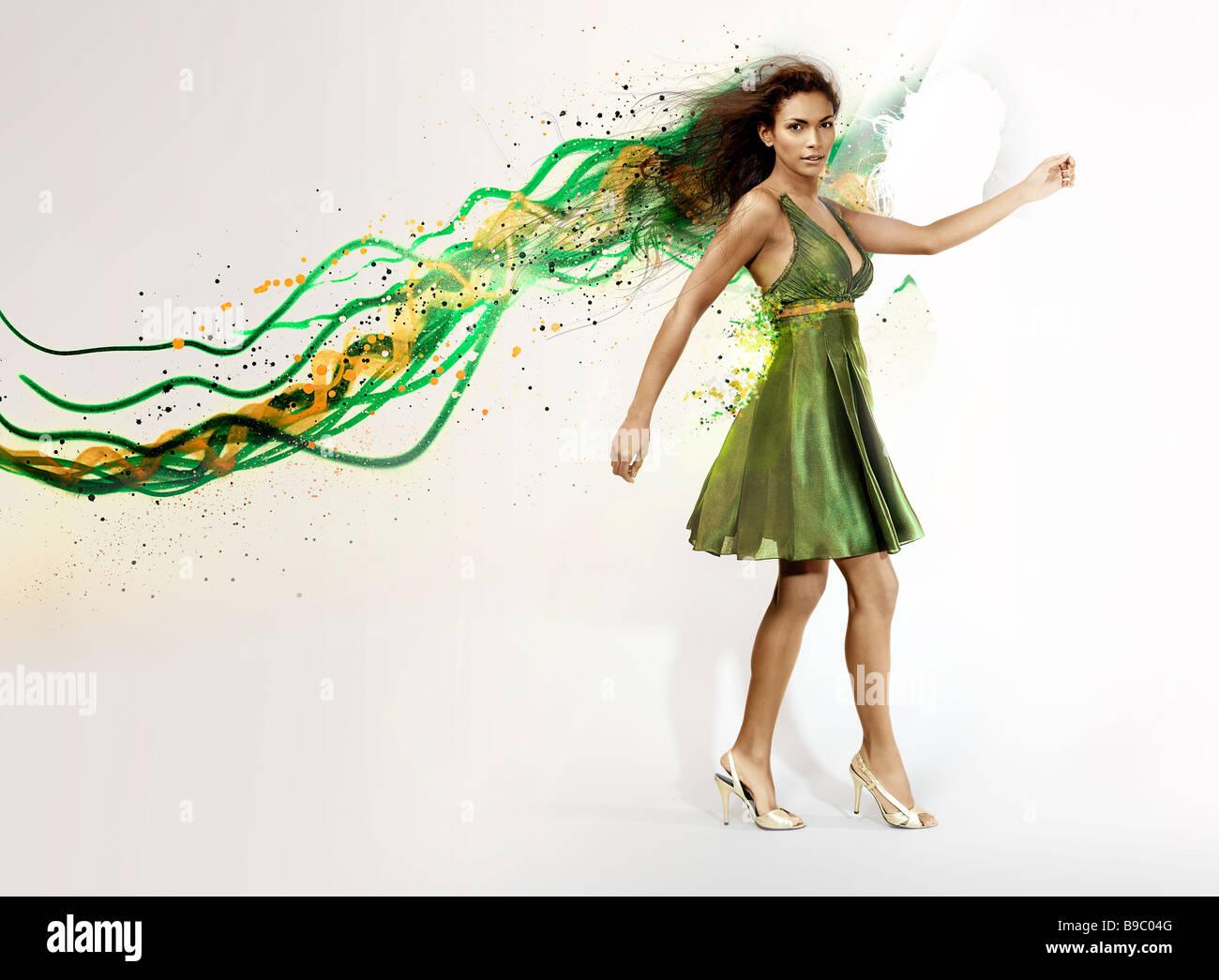 Mädchen. Bewegung. Illustrative Hintergrund. Grafischen Schuss. Mode. Ethnischen. Gemischte Rassen. Modell. Stockbild