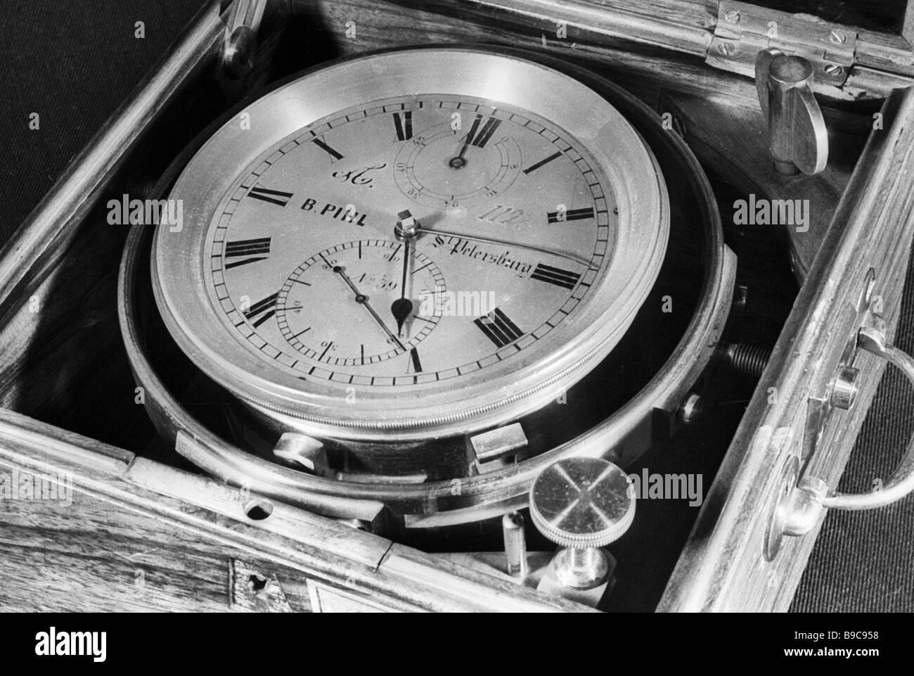 Ein 18 Jahrhunderts Meer Chronometer im Polytechnischen museum Stockbild