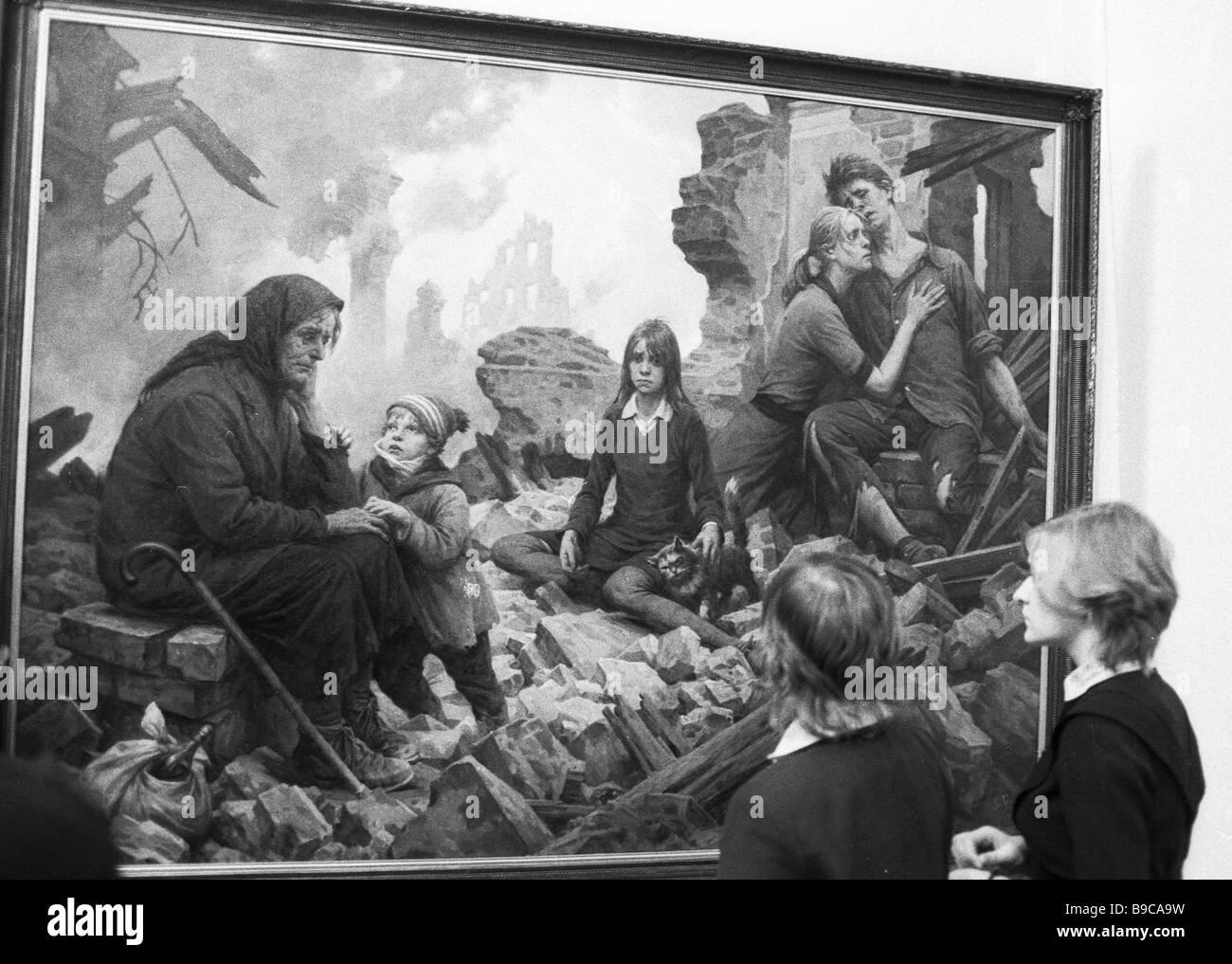 Boris Shcherbakov s Malerei des 20. Jahrhunderts in einer alle Union Kunstausstellung wir sind Gebäude Kommunismus Stockbild