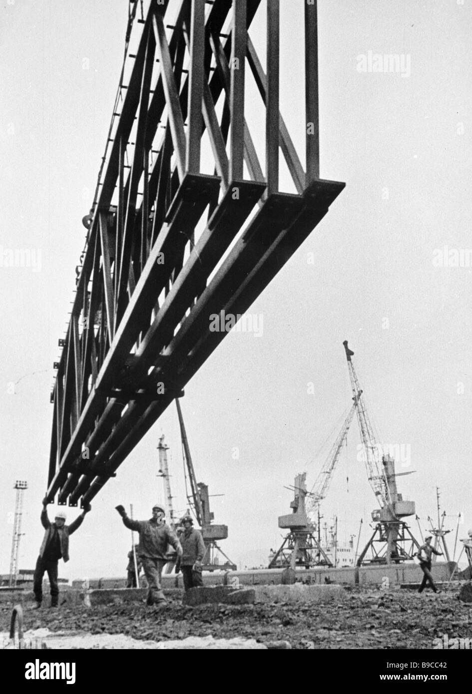 Umbauarbeiten in den Hafen von Nachodka Stockbild