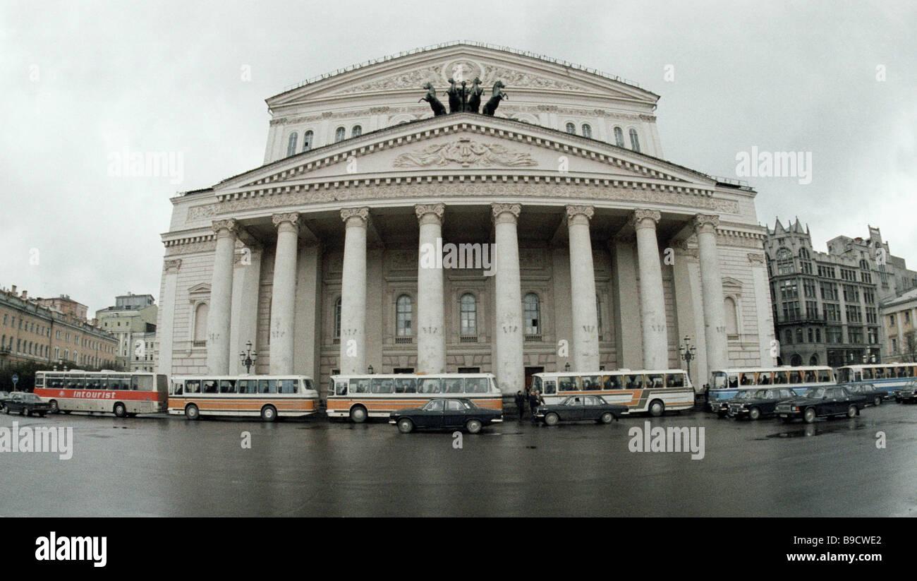 Das Bolschoi-Theater ein prominentes Beispiel der russischen Architektur des späten Klassizismus eines der Stockbild