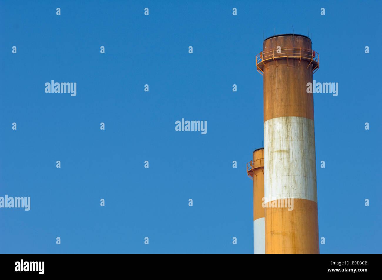 Schornstein Luft Qualität Verschmutzung Himmel sauber schmutzig Stockfoto