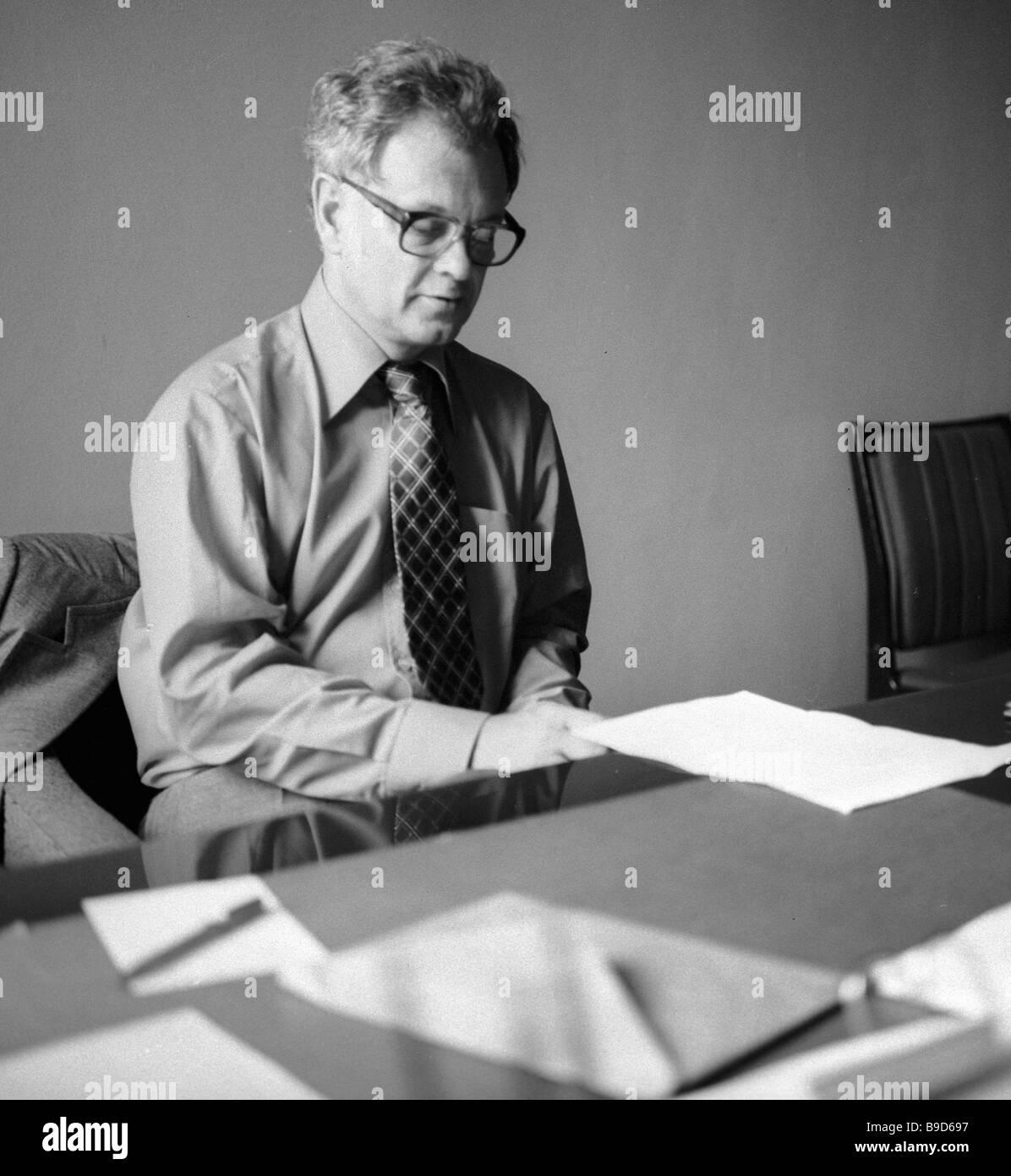 Professor Juras Pozhela Direktor des Vizepräsidenten Halbleiter-Physik-Institut der litauischen Akademie der Wissenschaften Stockfoto