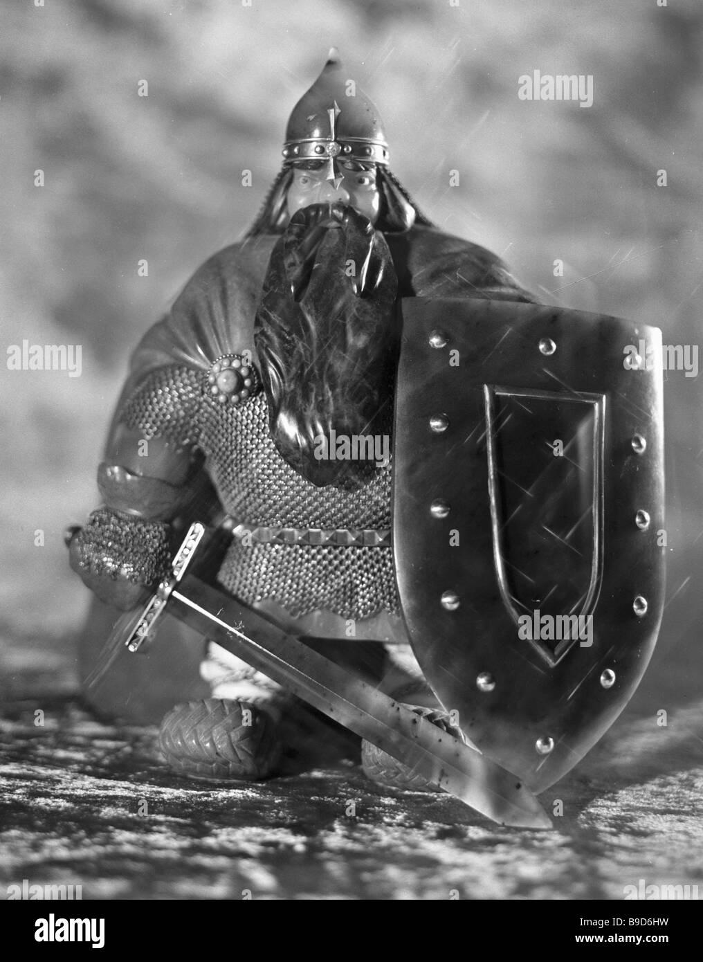 Figur altrussischen Krieger Jade Stockbild