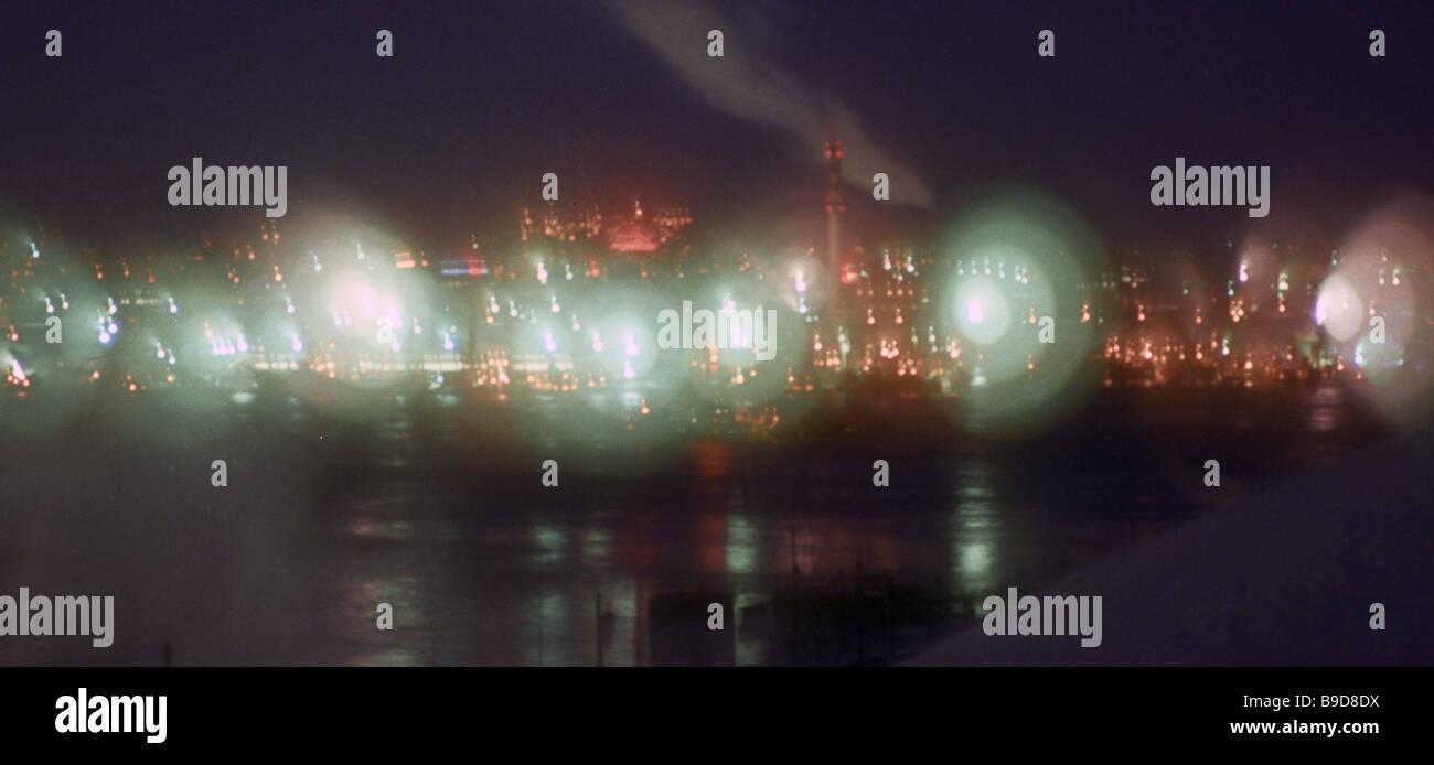 Polarnacht in Murmansk Stockbild