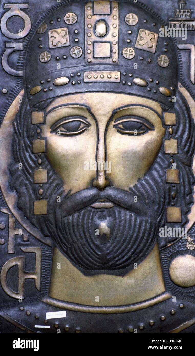 Gravierte Panel georgischen Warrior von Koba Guruli Stockbild
