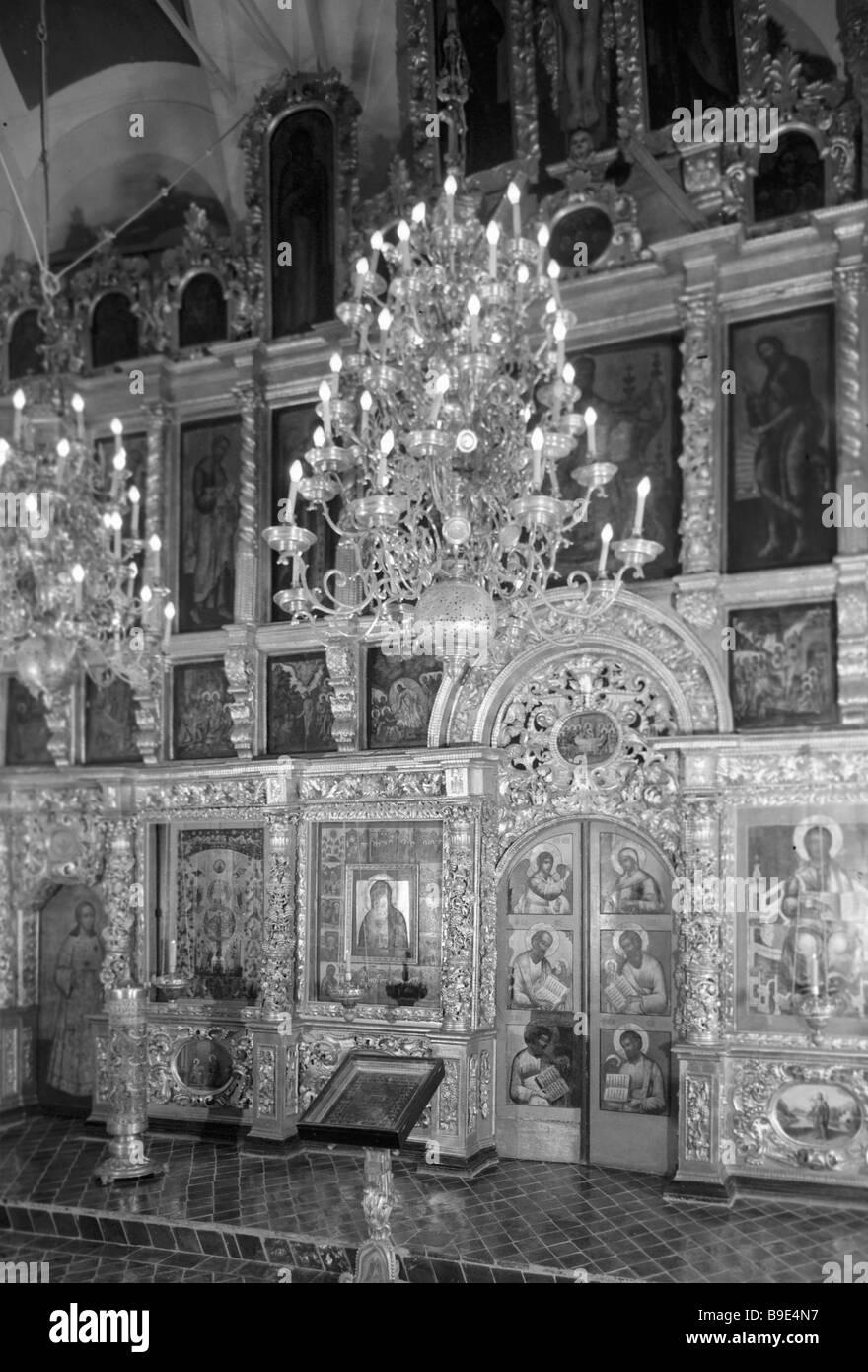 Die Ikonostase der zwölf-Apostel-Kirche im Moskauer Kreml Stockbild