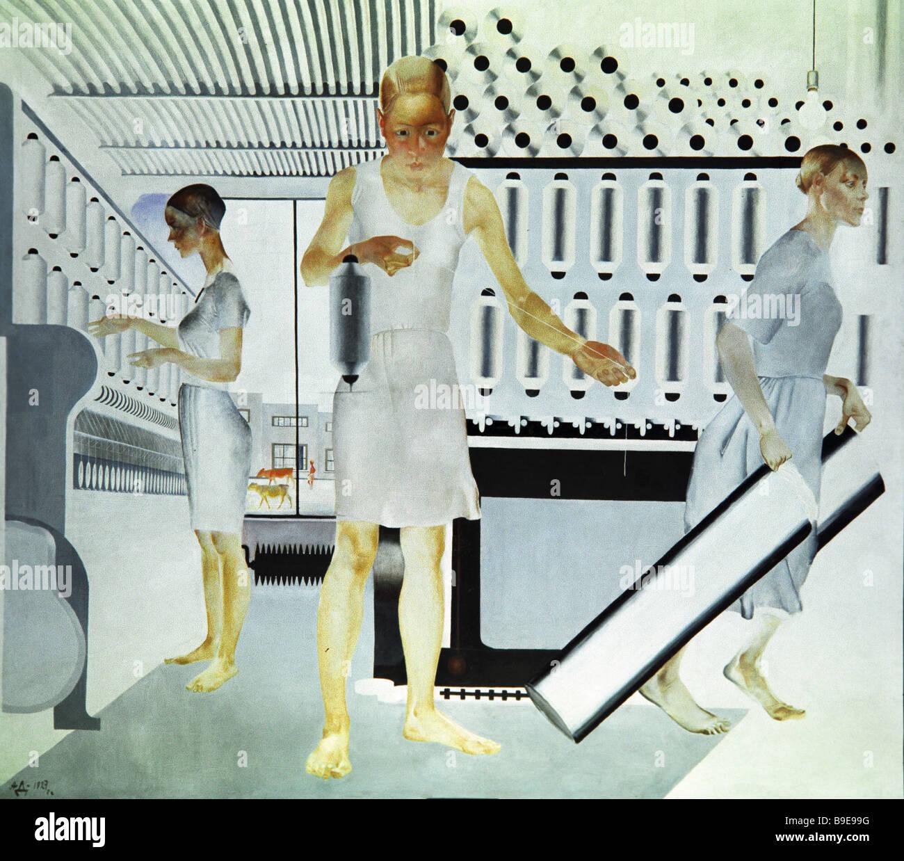 Eine Reproduktion des Gemäldes weibliche Textile Workers 1927 von ...