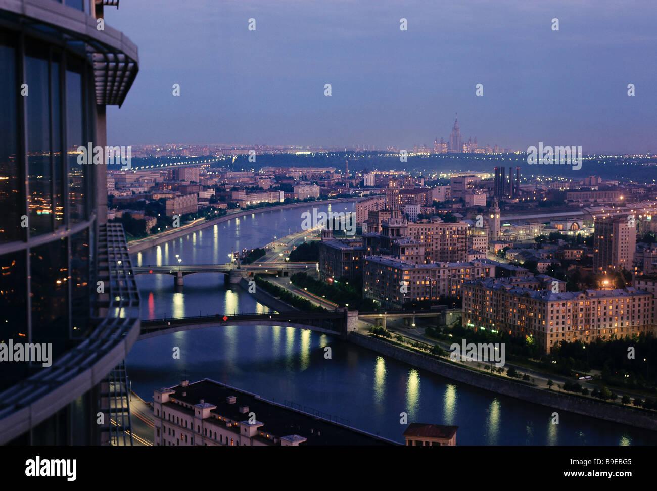 Moskau-Nachtlichter Stockfoto
