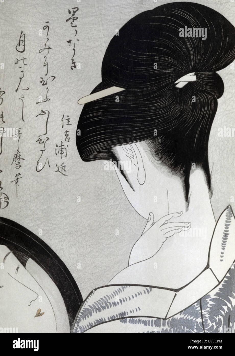 Die Dame mit der Spiegel-Holzschnitt von Utamaro Utagawa des 18. Jahrhunderts Oriental Art Museum Moskau Stockbild