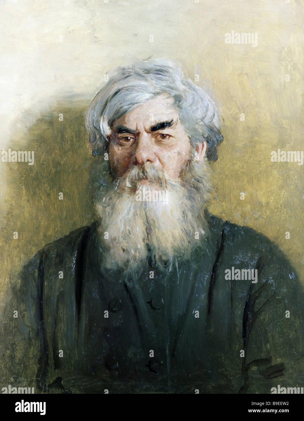 Ilja Repin ein Bauern mit einem bösen Auge staatliche Tretjakow-Galerie Moskau Stockbild