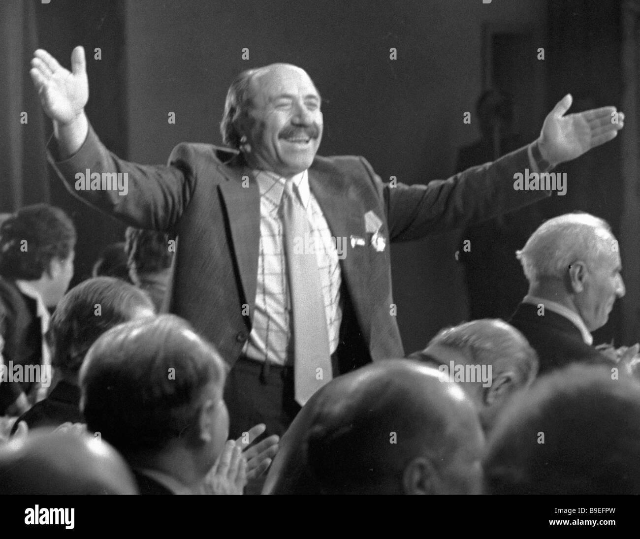 Eine Jubiläums-Soiree anlässlich der 60. Geburtstag des Menschen s Dichters und Gewinner der UdSSR Zustand Stockbild