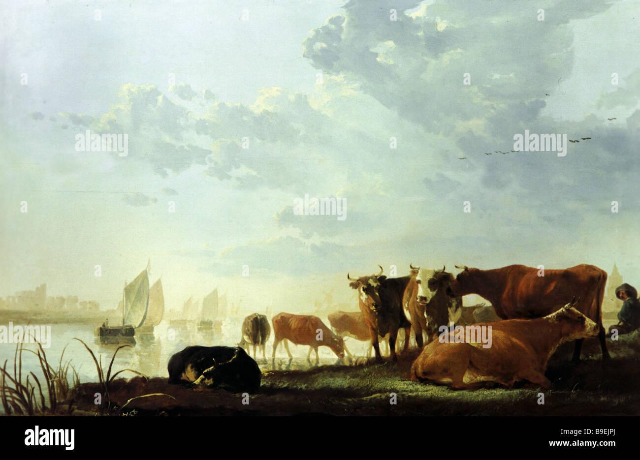 Aelbert Cuyp 1620 1691 Kühen und Hirten durch ein Museum der schönen Künste von River State Puschkin Stockbild