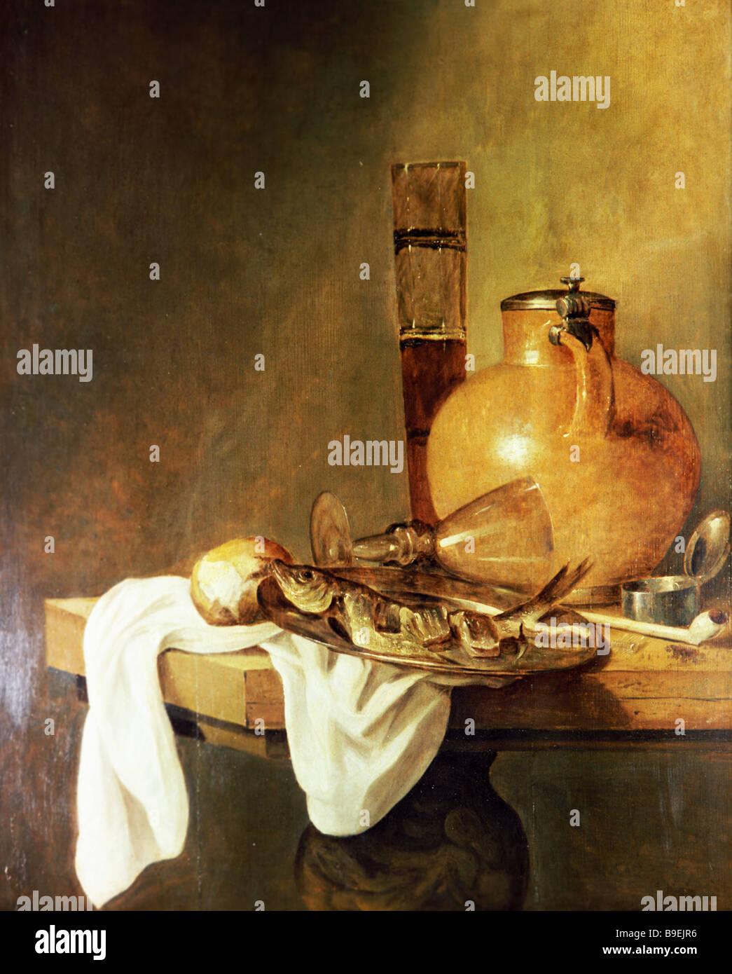 Abraham van Beyeren 1620 21 1690 The Breakfast staatlichen Puschkin Fine Arts Museum Moskau Stockbild