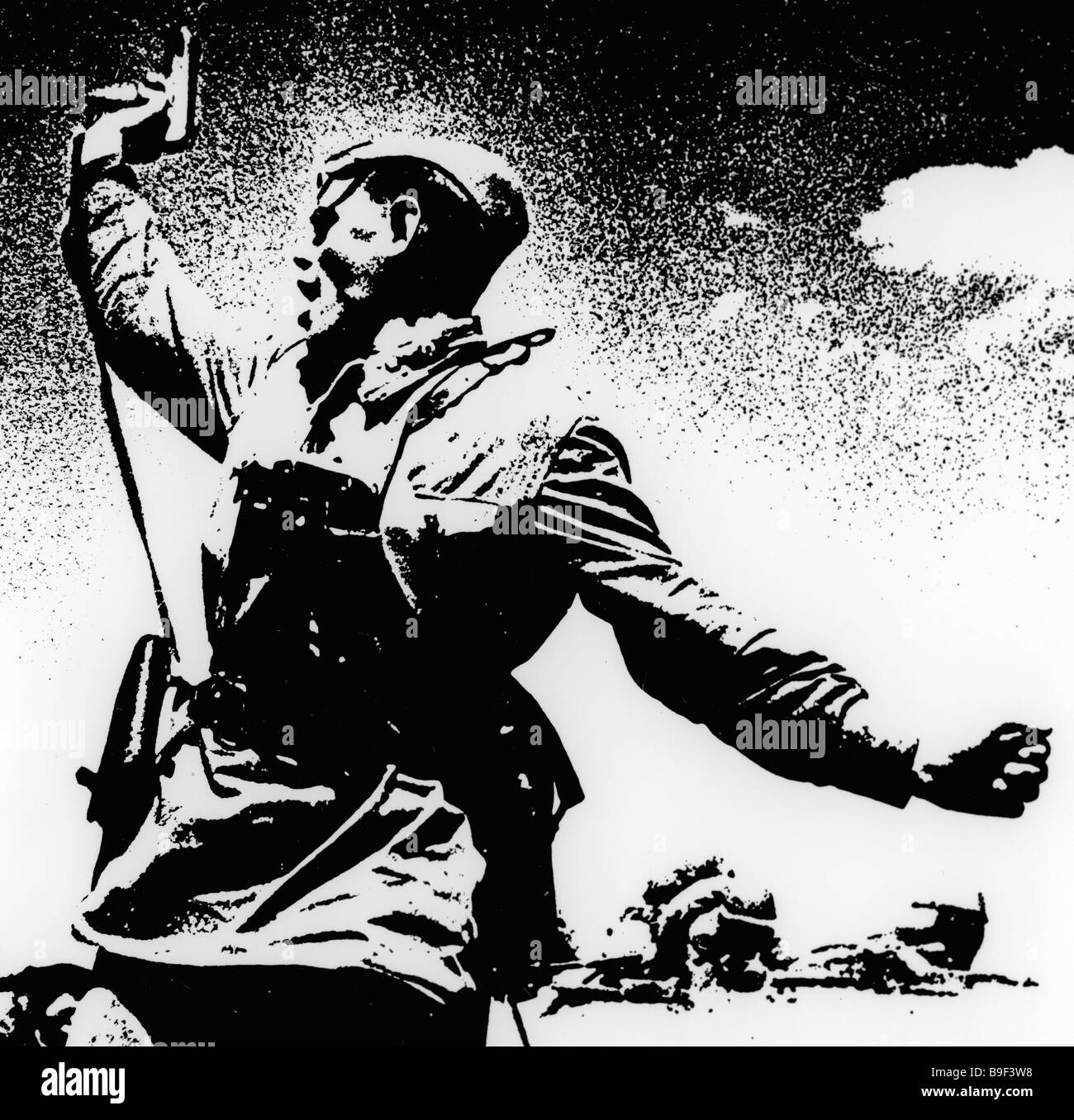 Foto-Grafik von I Zotin gemacht von Max Alpert Battalion commander Stockbild