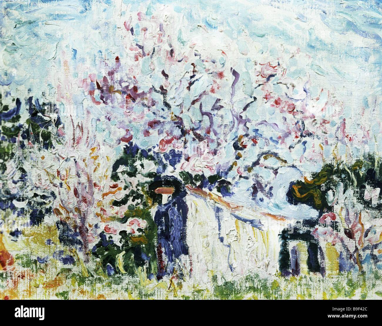 Reproduktion von Paul Signac s 1863 1935 Gemälde Frühling in der Provence aus dem Puschkin Museum für bildende Künste-Sammlung Stockfoto