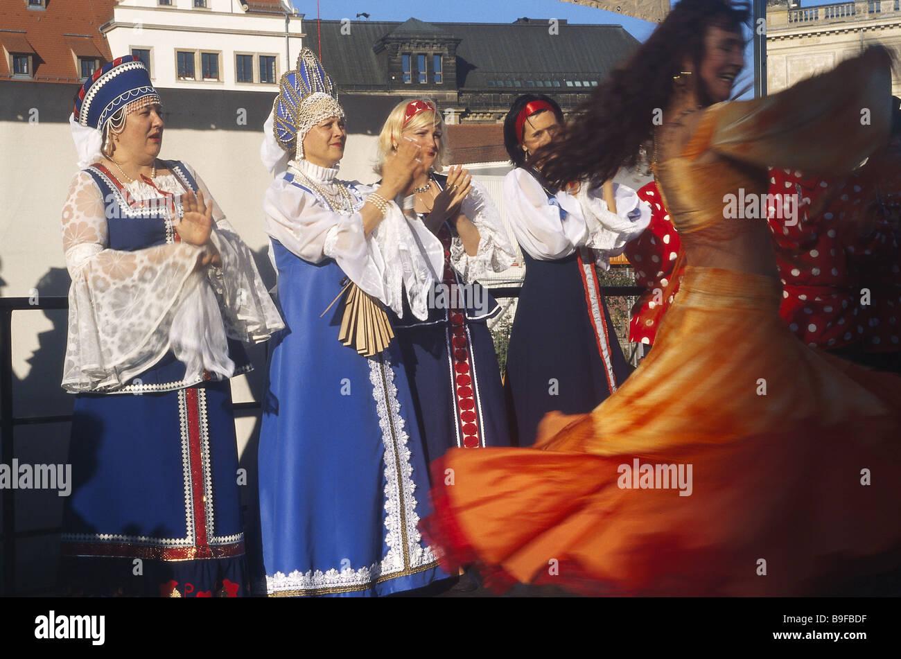 Deutschland Dresden Statt Folklore Gruppe Russischer Tanz