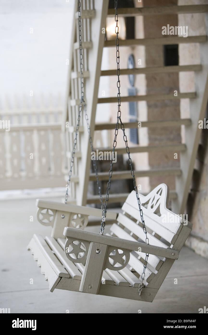 USA Fredericksburg Veranda Schaukel Nahaufnahme Amerika Außen Fassade Bank  Jahr 1850 Konstruktionsdetail Abgeschieden Entspannen Entspannung