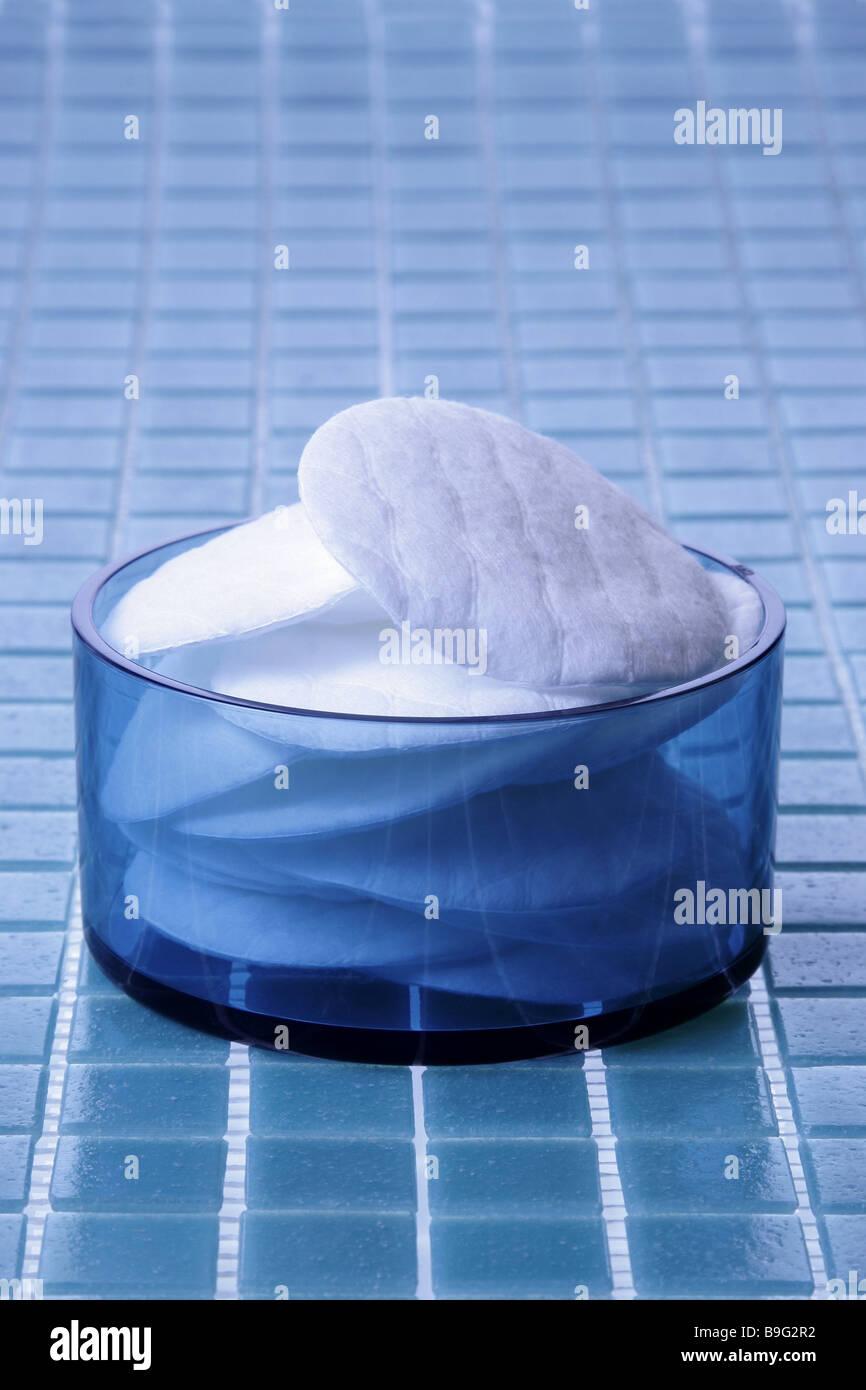 Bader Glas Schale Cotton Pads Serie Fliesen Fliesen Blau Glas