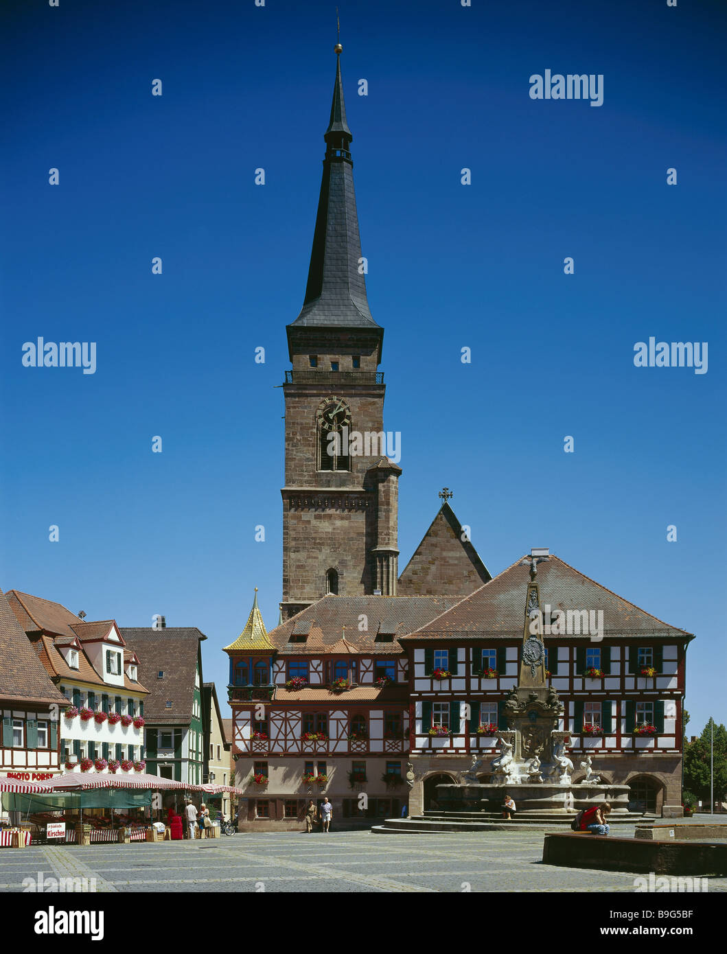 deutschland bayern schwabach stadtkirche sch ner brunnen rathausbrunnen franken k nigsplatz. Black Bedroom Furniture Sets. Home Design Ideas