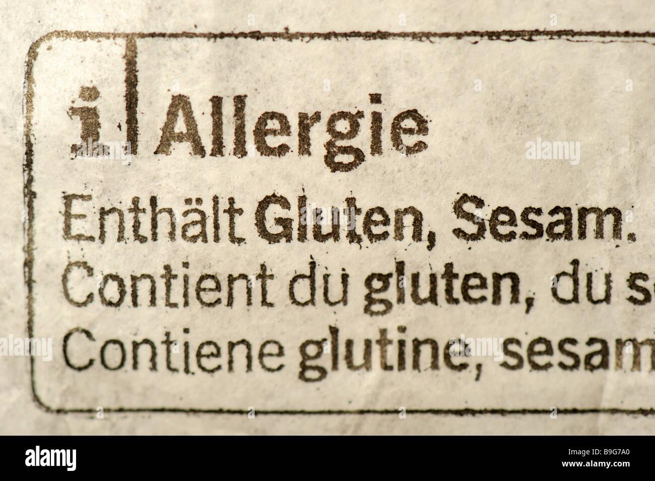 Allergie. Gründsätzen zum Inhaltsverzeichnis allergisches Potential auf ein Paket von Lebensmitteln: Sesam Stockbild