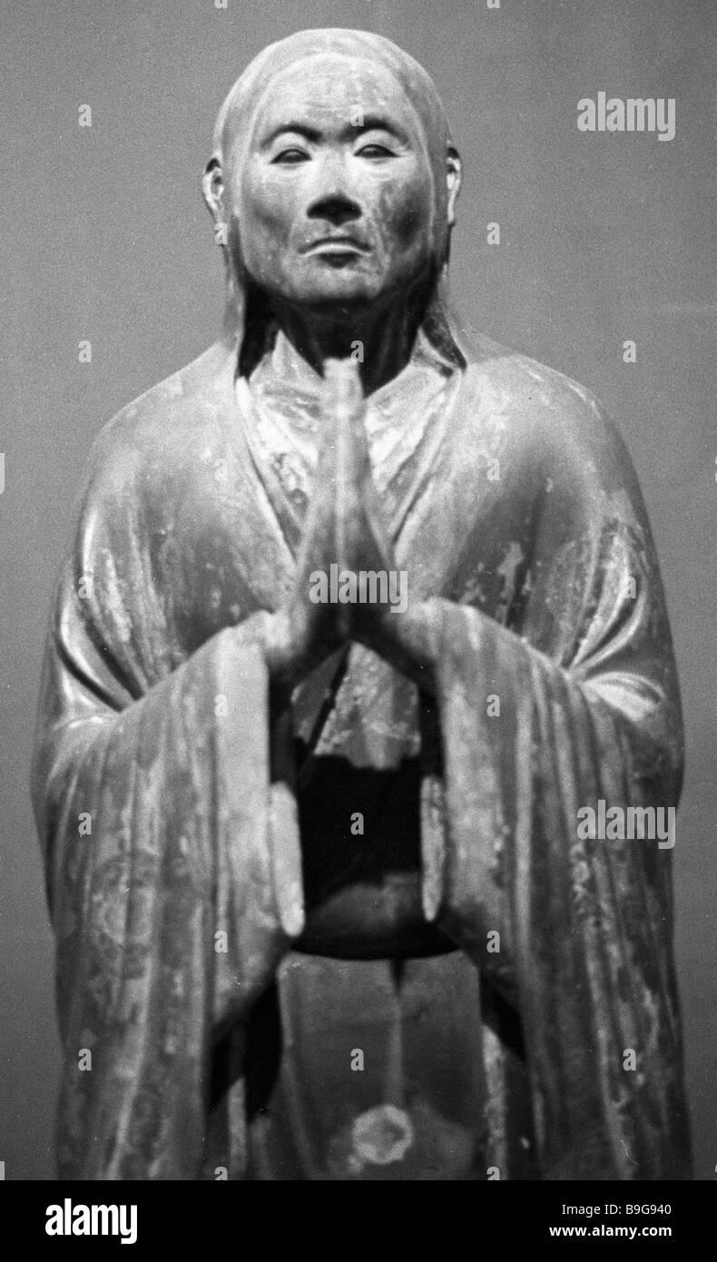 Mavarane Statut 18. Jahrhundert aus der Mekhoin Kloster-Skulptur des antiken und mittelalterlichen Japan-Ausstellung Stockbild