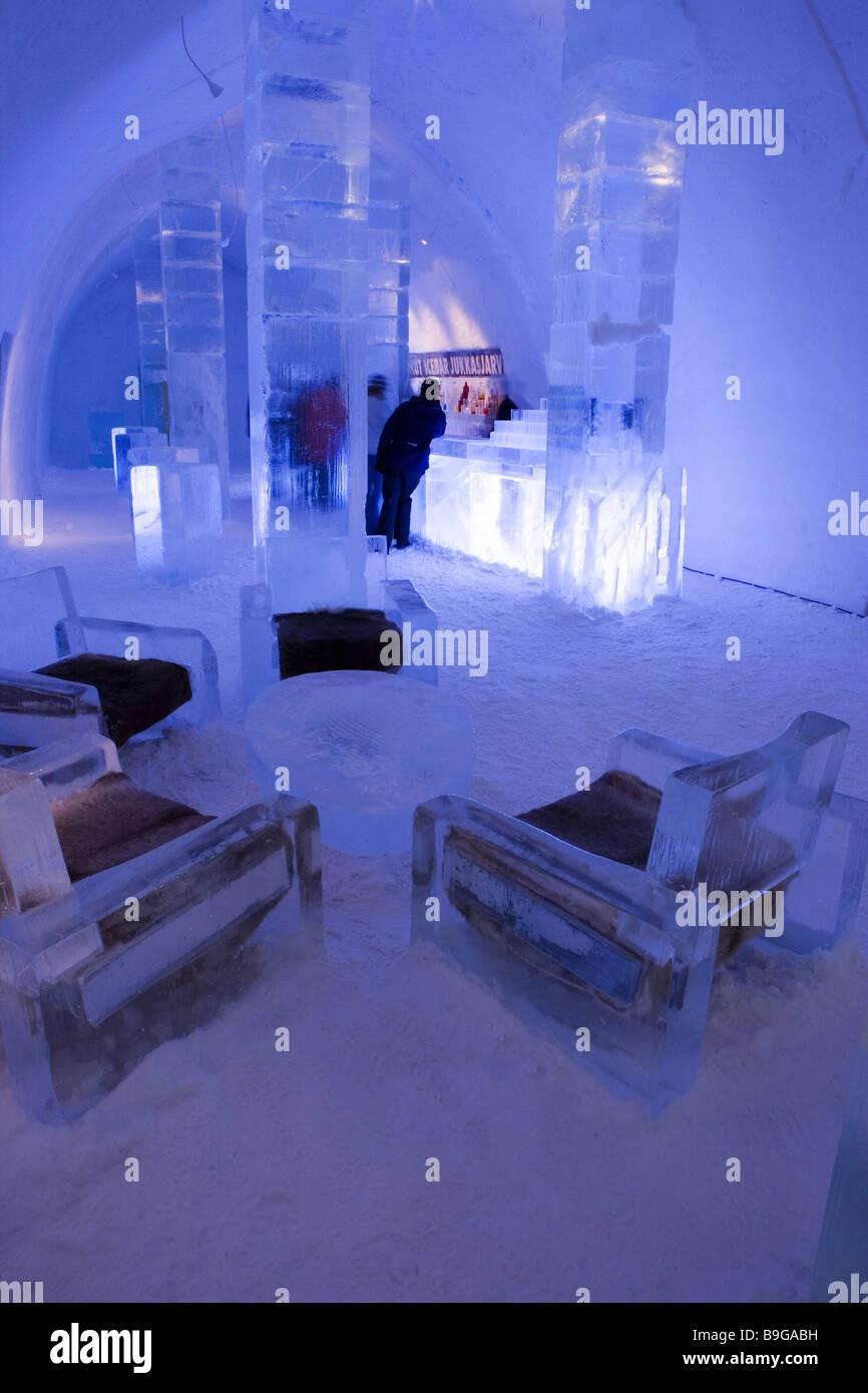 Norrbottens Län Jukkasjärvi in Schweden Eishotel Eis-Bar leuchtet ...