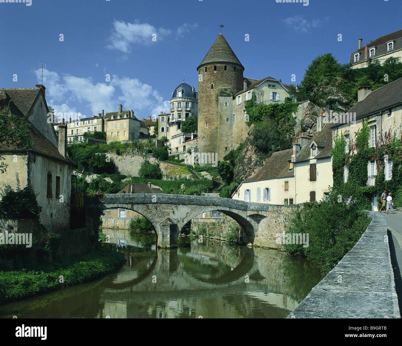 Frankreich burgund semur en auxois fluss armancon br cke pont pinard stadt stadt ansicht - Architektur ansicht ...