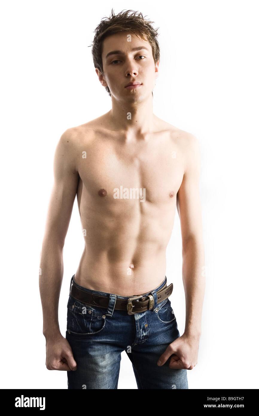 Mann Junge Oberkörper frei ernst detail Serie Menschen