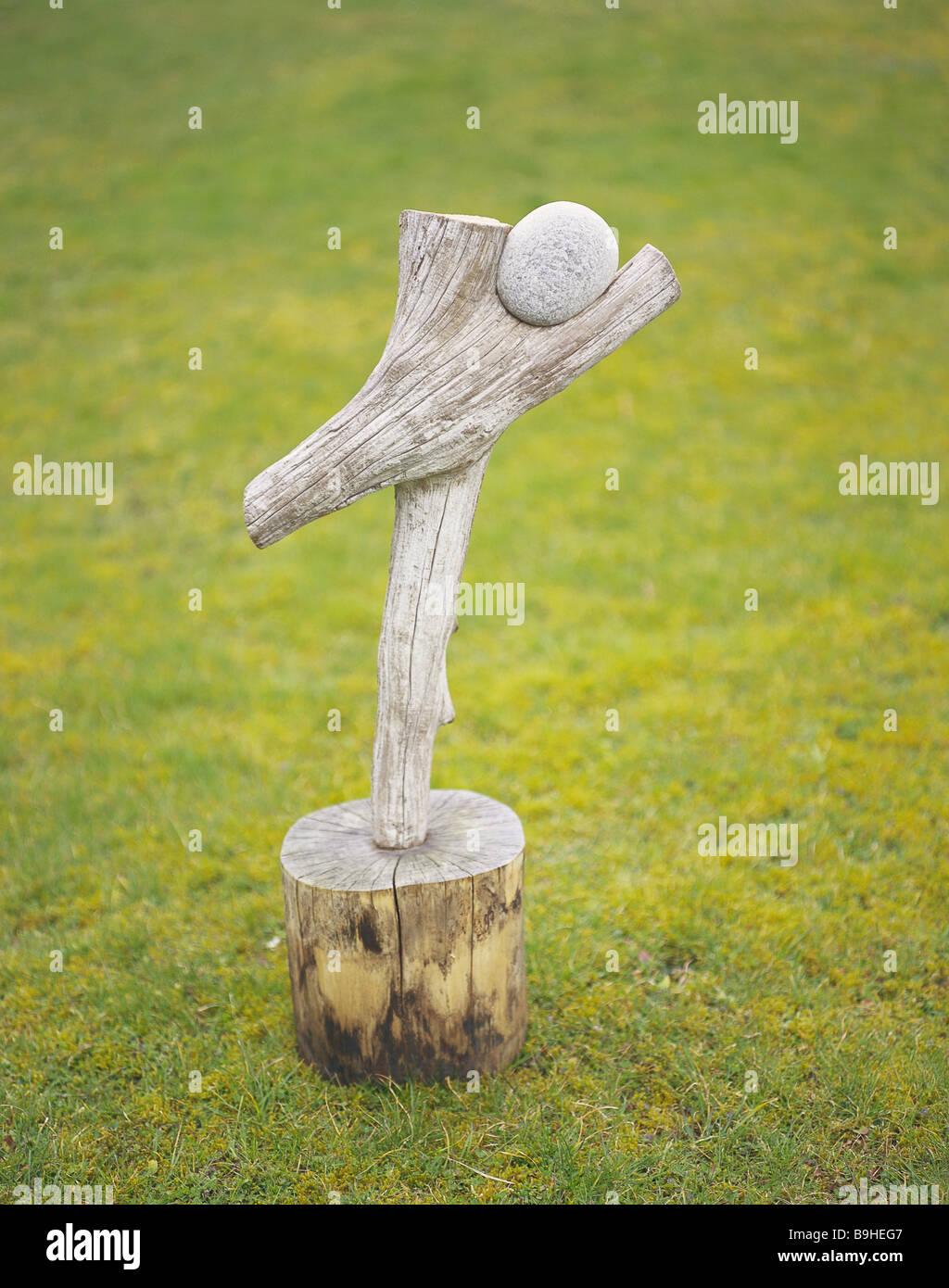 Natur Kunst Holz Stein Wiese Garten Rasen Aus Holz Sockel Kunstwerk